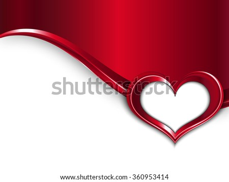 Valentines Day Design. Vector Metal Background With Wave And Frame of Heart For Your Text - stock vector