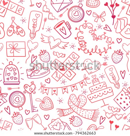 Valentines Day doodles elements pattern. Cute symbols of love,wedding, engagement seamless background. Red pink gradient icons on white hand drawn style vector illustration
