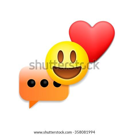 Valentines day emoticon icons, Love emoji symbols, isolated on white background, vector illustration. - stock vector