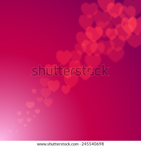 Valentines Day explosion of scattered bokeh hearts - stock vector