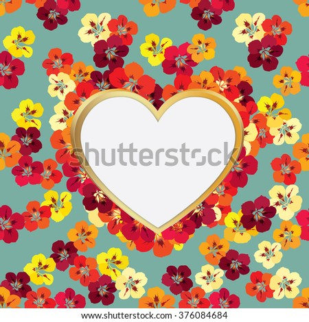 Valentines Day Floral Greeting Card. Flower frame with love heart shape card Valentines day flourish spring stylish background in retro style - stock vector