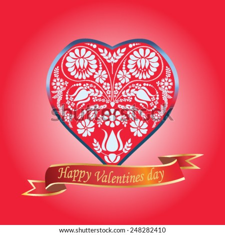 Valentines Day floral heart on red background - vector illustration. - stock vector