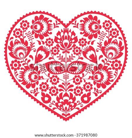 Valentines Day folk art red heart - Polish pattern Wzory Lowickie, Wycinanki - stock vector