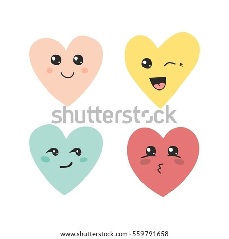 Valentines day funny emoticon icons, Love emotion set, isolated on white background, vector illustration. emoticon emoji set for social media, facebook, instagram or holiday valentines card