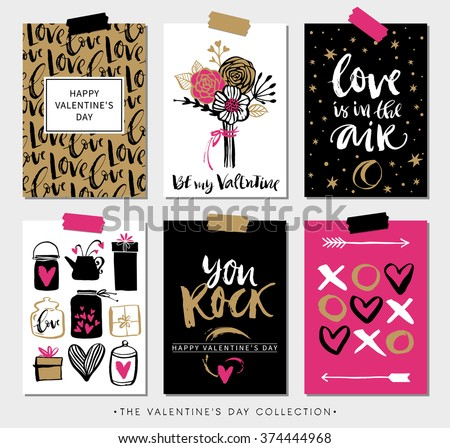 Valentines day gift cards. Calligraphy and hand drawn design elements. Handwritten modern lettering. - stock vector