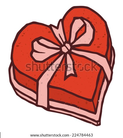 Heart shaped box isolated valentines day gift heart shaped box of candy with decorative bow vector icon negle Gallery