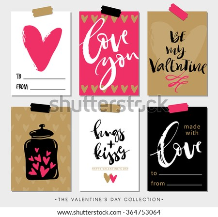 Valentines day gift tags and cards with calligraphy. Hand drawn design elements. Handwritten modern lettering. - stock vector