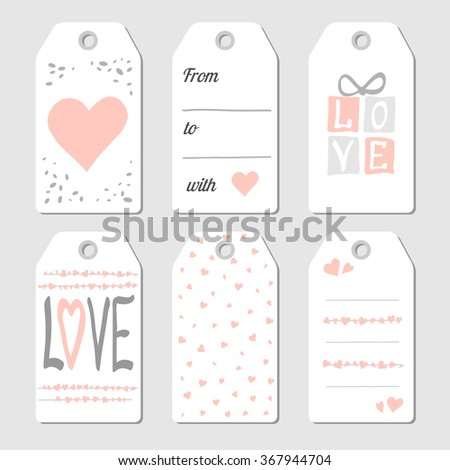 Valentines Day gift  tags with hearts and love. Vector illustration. Pink and gray colors - stock vector