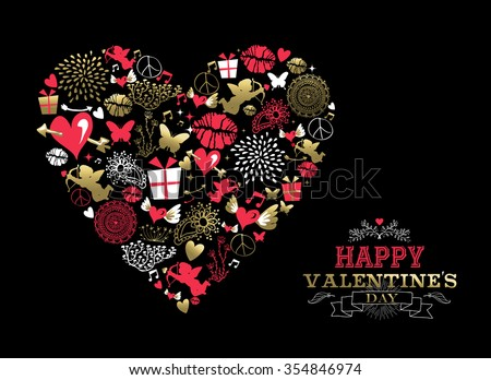 Valentines day greeting card, retro icons making heart shape silhouette in gold and pink colors with ornamental text label. EPS10 vector. - stock vector