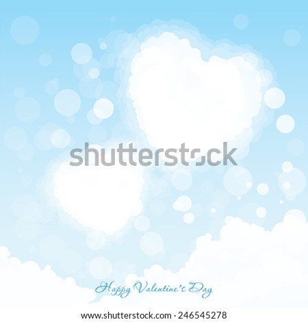 Valentines Day Greeting Card. Two Hearts in the Sky with Clouds - stock vector