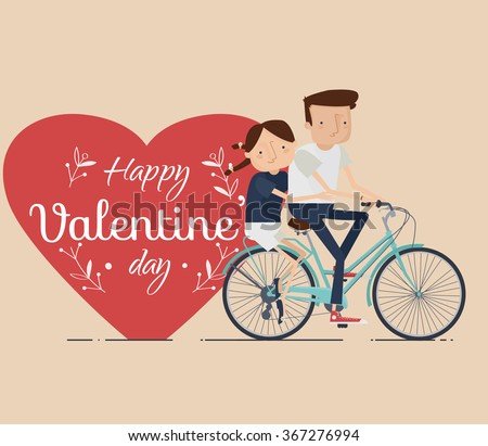 Valentines Day Greeting card, Vector Illustration