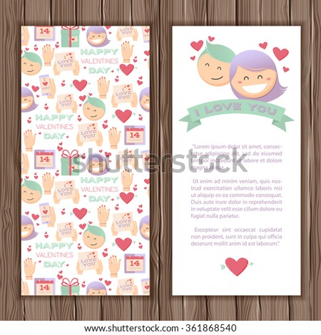 Valentines Day greeting card  with a couple in love. Stylish card in cartoon style. On a wooden background for your design - stock vector