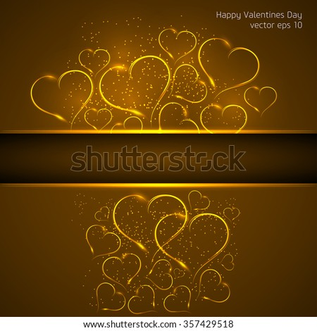 Valentines Day. Greeting card with golden hearts - stock vector