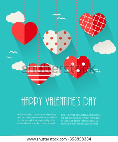 Valentines day greeting card with hanging card with hanging red hearts and sky, vector illustration - stock vector