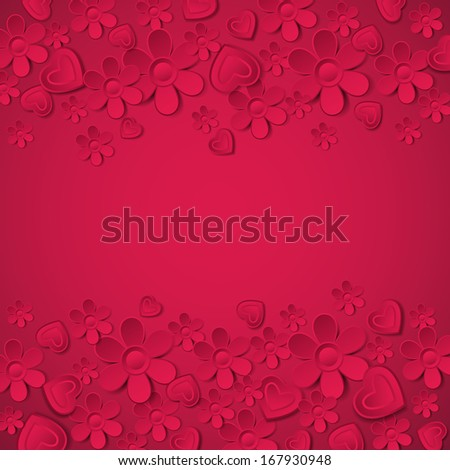 Valentines day greeting card with many flowers,  vector illustration