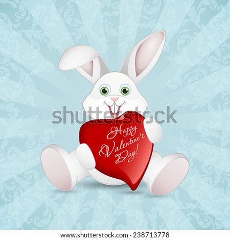 Valentines Day Greeting Card with Rabbit - stock vector