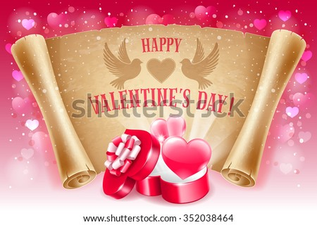 Valentines Day greeting card with two red hearts, open gift box in heart shape, text Happy Valentines Day on old scroll paper. Vector illustration. - stock vector