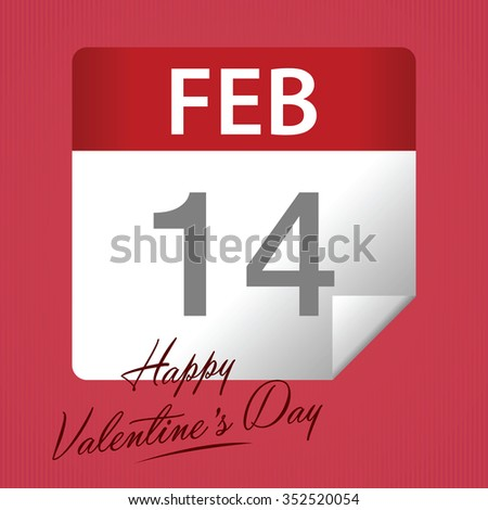 Valentines day greetings calendar with note, vector illustration - stock vector