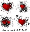 Valentines Day grunge background with Hearts, flower and circle, element for design, vector illustration - stock vector