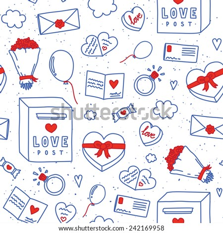 Valentines Day hand drawn doodle objects seamless vector pattern