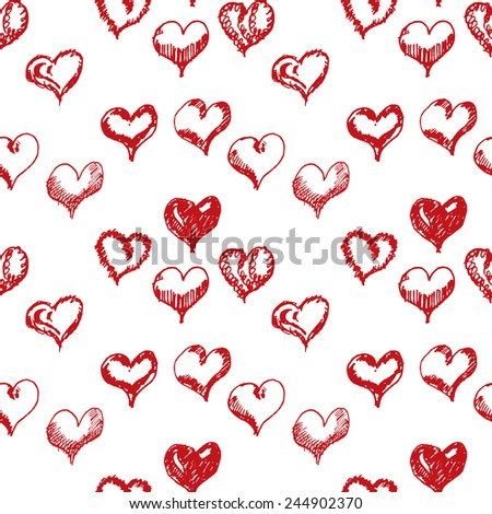 Valentines day hand drown hearts seamless pattern. - stock vector