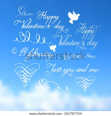 Valentines day  handdrawn lettering and calligrahy collection  on blue sky background  - stock vector