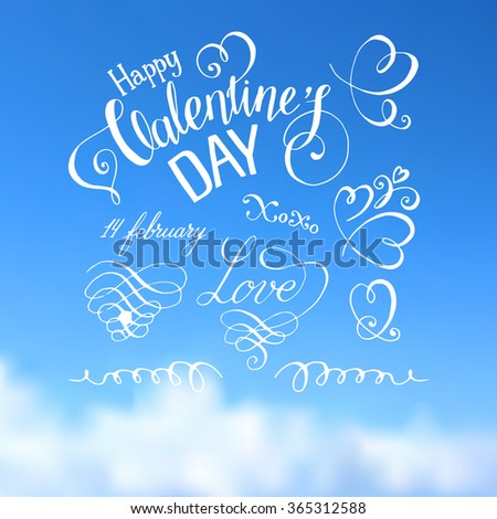 Valentines day  handdrawn lettering and calligraphy collection  on blue sky background  - stock vector