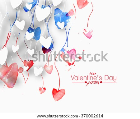 Valentines day heart background. Vector illustration. - stock vector