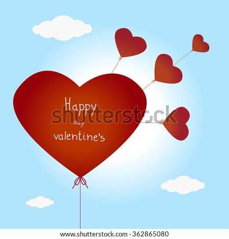 Valentines Day Heart Balloons on Blue Background - stock vector