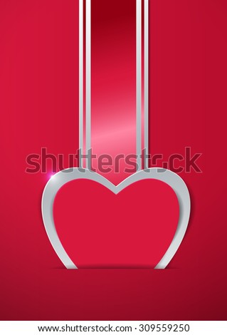 Valentines Day. Heart Cut from Paper and Ribbon, Vector Illustration - stock vector