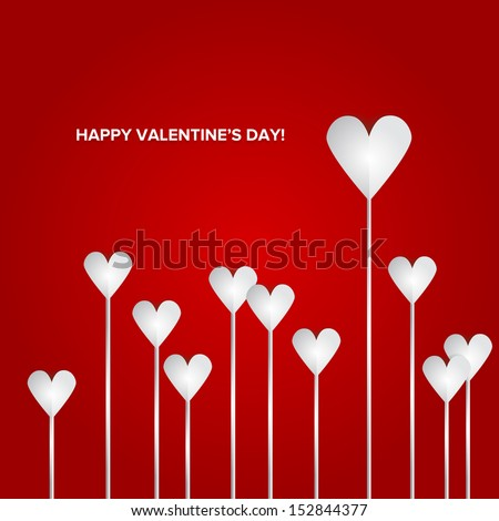 Valentines Day Heart Flowers on Red Background