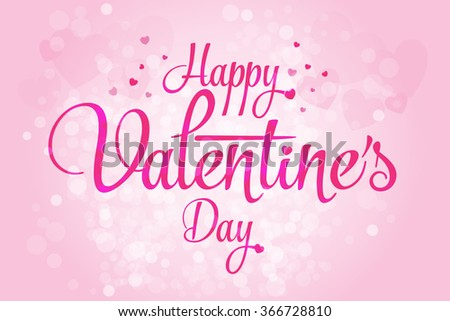 Valentines day heart love element, valentine day text, pink background - stock vector