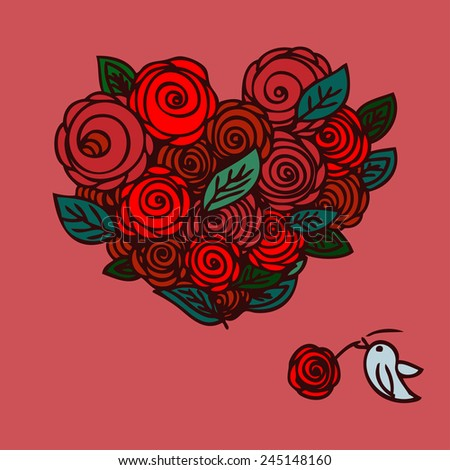 Valentines Day Heart Made of Red Roses with a small cute bird Isolated on White Background. Happy Valentine's day. Heart isolated - stock vector