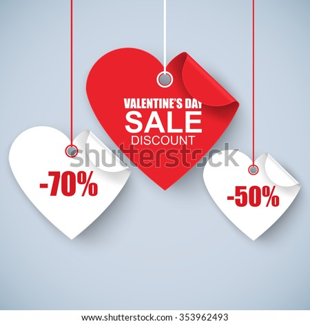 Valentines day heart sale tag, poster template. Red twisted heart, isolated on white background. Vector illustration.