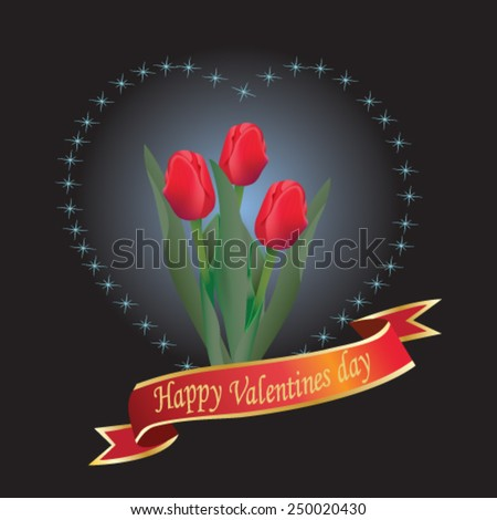 Valentines Day heart with red tulips - vector illustration. - stock vector