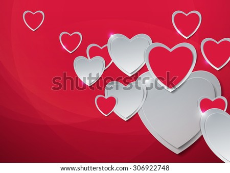 Valentines Day. Hearts Cut from Paper, Vector Illustration - stock vector