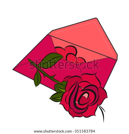 Valentines day hearts with red rose - stock vector