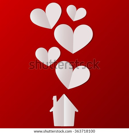 Valentines day house with hearts background. Vector illustration. - stock vector