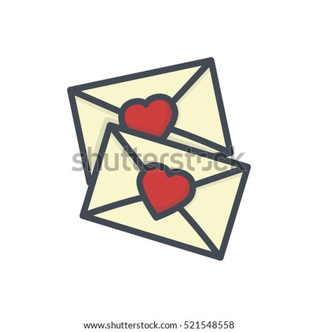 Valentines Day Icon Colored Holiday Post Card Letter Love