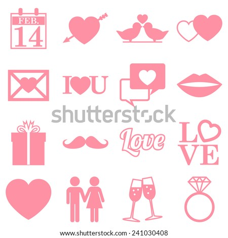 Valentines Day Icons - flat design infographics - vector eps10 - stock vector
