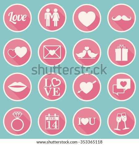 Valentines Day Icons  Set - flat design - vector eps10 - stock vector