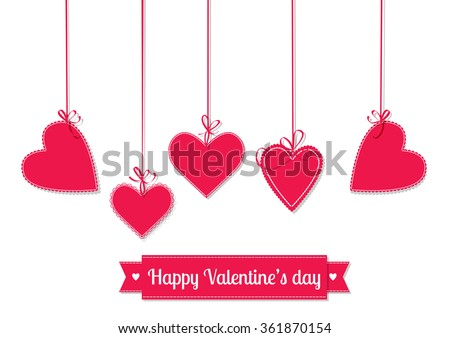 Valentines day illustration. Hanging red hearts tied with bows and ribbon with lettering on white background. - stock vector