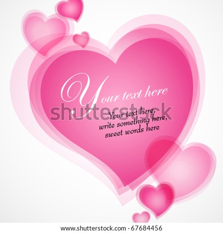 Valentines Day illustration with hearts text in the center - stock vector