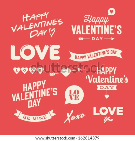 valentines day illustrations typography elements stock vector, Ideas