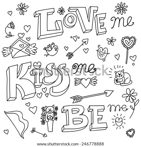 valentines day kiss love doodle vector - stock vector