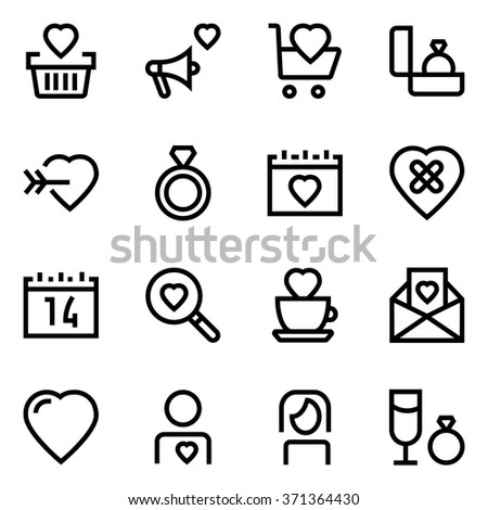 Valentines day line icon set. Pixel perfect fully editable vector icon suitable for websites, info graphics and print media. - stock vector