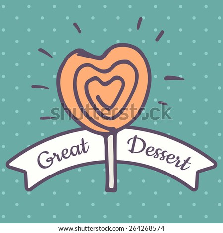 Valentines Day lollipop flat icon on blue background - stock vector