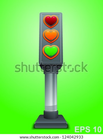 Valentines day love concept. Traffic lights with hearts. Vector illustration