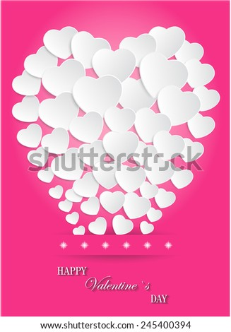 Valentines Day of White Paper Heart Balloons on Pink Background. Vector illustration - stock vector