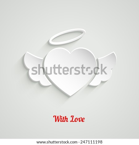 Valentines Day Paper Heart with angel wings and halo. Vector illustration - stock vector